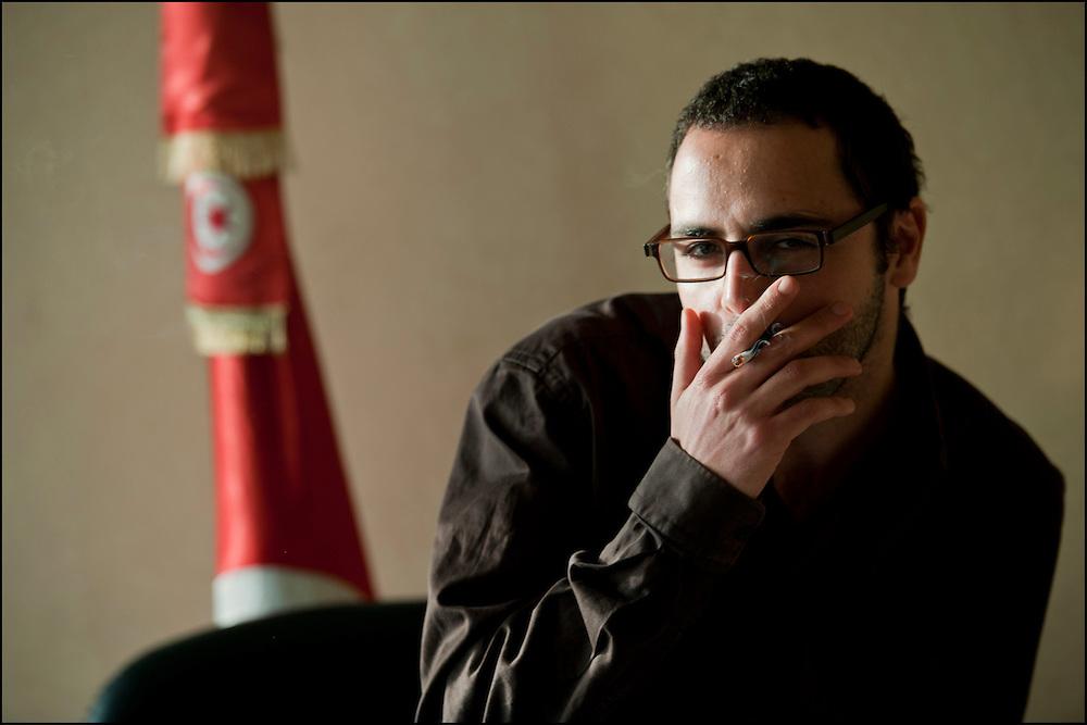 Slim Amamou secrétaire d'Etat à la Jeunesse et aux sports, Tunis le 7 mars 2011.© Benjamin Girette/IP3 press
