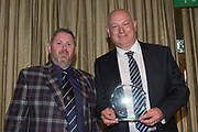 Dundee FC historian Kenny Ross presents Mark Lwason with his great grandfather John 'Sailor' Hunter's Hall of Fame award at Dundee FC hall of fame dinner at Invercarse Hotel, Dundee, Photo: David Young<br /> <br />  - &copy; David Young - www.davidyoungphoto.co.uk - email: davidyoungphoto@gmail.com
