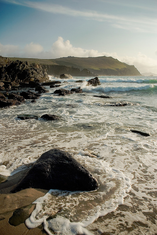 Surf rolling in on Clogher Beach, Co. Kerry, Ireland.