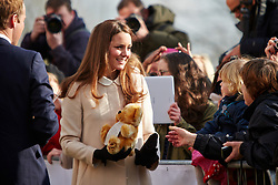 © Licensed to London News Pictures.  19/03/2013. SAUNDERTON, UK. The Duke and Duchess of Cambridge, William (not pictured) and Kate (pictured) arrive at the Clare Centre in Saunderton to visit the offices of charity Child Bereavement UK. Photo credit :  Cliff Hide/LNP