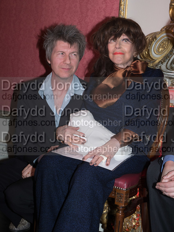 SIMON MACKAY, FENELLA FIELDING,, Literary Review Christmas drinks and  Bad Sex in fiction Awards, In and Out club. St. James's Sq. London. 30 November 2017