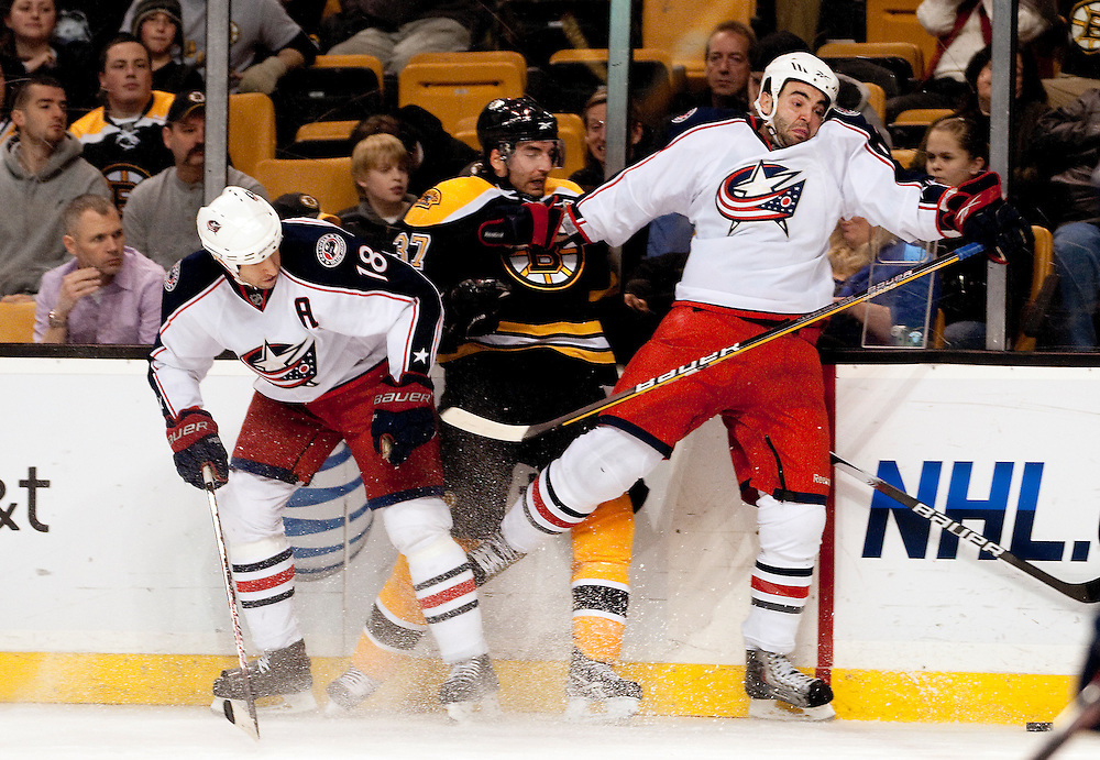 The Columbus Bluejackets vs the Boston Bruins at the TD Bank Garden on January 21, 2010 in Boston, Massachusetts.