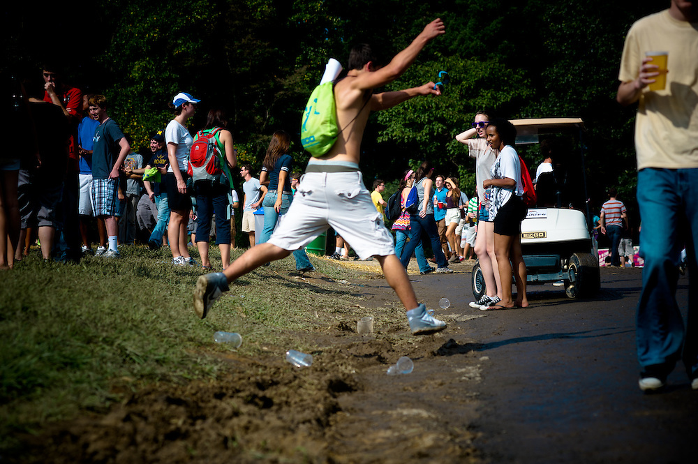 Many festivalgoers found themselves hopping over the mud.