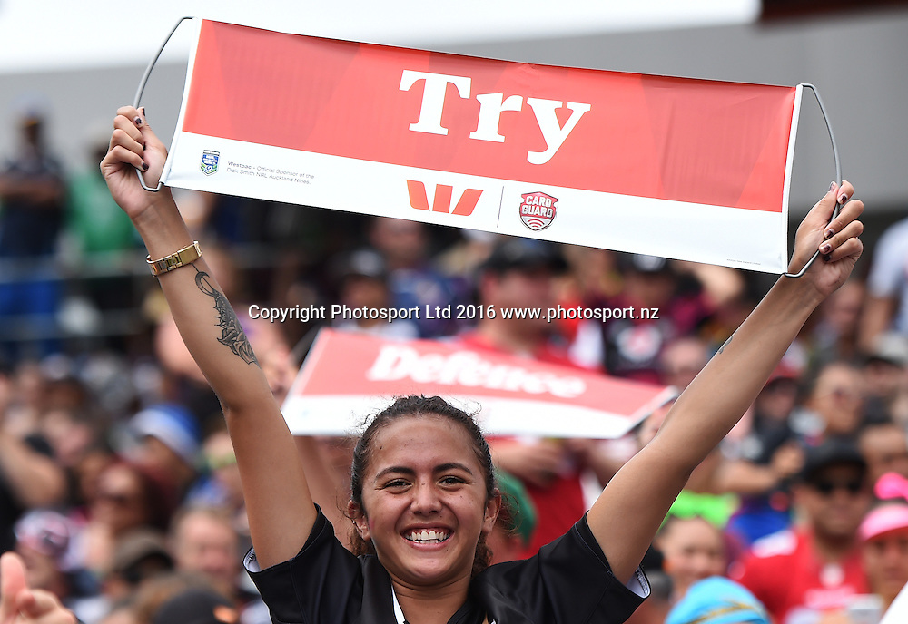 Fans. NRL Auckland Nines  at Eden Park in Auckland, New Zealand. Saturday 6 February 2016. Copyright photo: Andrew Cornaga / www.photosport.nz