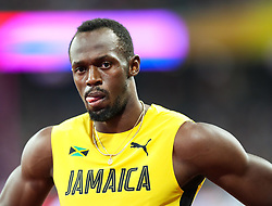 London, 2017-August-04. Usain Bolt awaits the start of his Men's 100m heat at the IAAF World Championships London 2017. Paul Davey.