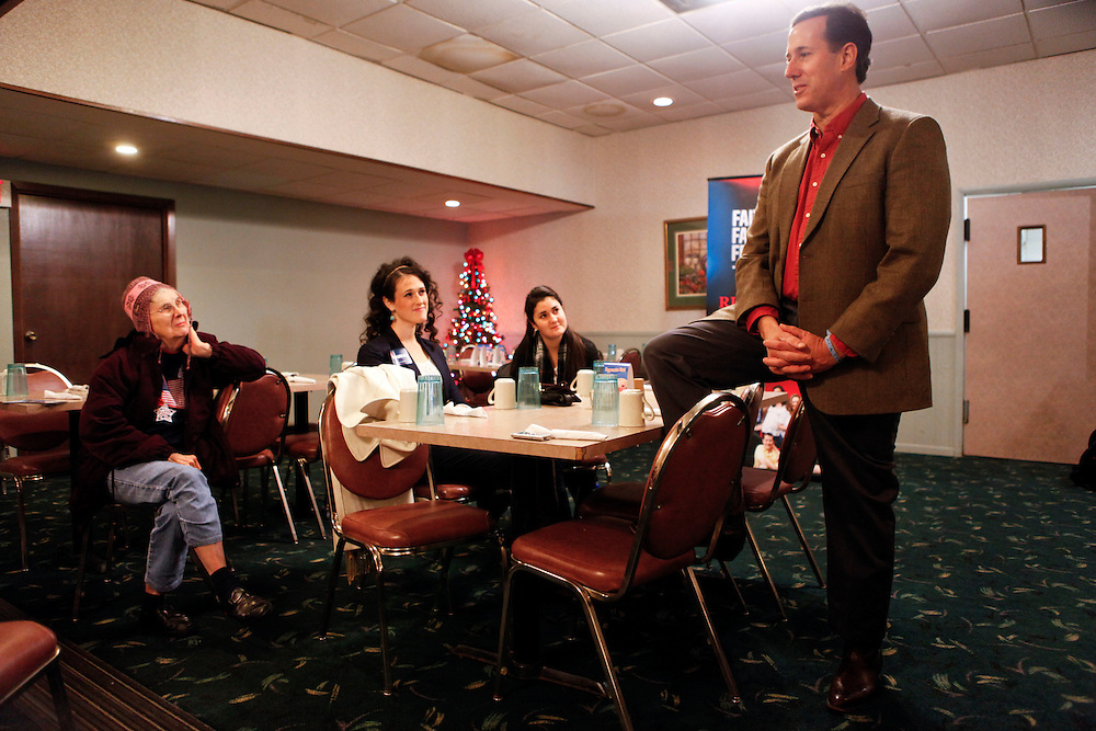 Republican presidential candidate RICK SANTORUM campaigns to gain support for the Iowa Caucuses at Lakeshore Family Restaurant on Tuesday, December 6, 2011 in Storm Lake, Iowa..Photo © 2011 Patrick T. Fallon
