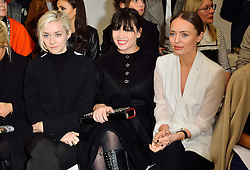 © Licensed to London News Pictures. 22/02/2016. PORTIA FREEMAN, DAISY LOWE and LAURA HADDOCK attend the ANTONIO BERARDI show at the London Fashion Week Autumn/Winter 2016 show. Models, buyers, celebrities and the stylish descend upon London Fashion Week for the Autumn/Winters 2016 clothes collection shows. London, UK. Photo credit: Ray Tang/LNP