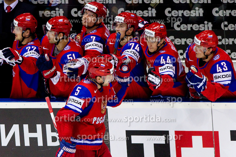 Ilya Nikulin of Russia celebrates during ice-hockey match between Russia and Slovakia of Group A of IIHF 2011 World Championship Slovakia, on May 3, 2011 in Orange Arena, Bratislava, Slovakia. (Photo By Vid Ponikvar / Sportida.com)