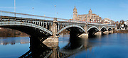 """Panoramic view of Enrique Estevan Bridge across the River Tormes, Salamanca, Spain, pictured on December 18, 2010 in the afternoon. The Cathedral is visible in the background. Salamanca, an important Spanish University city, is known as La Ciudad Dorada (""""The golden city"""") because of the unique golden colour of its Renaissance sandstone buildings. Founded in 1218 its University is still one of the most important in Spain. Around it the Old Town is a UNESCO World Heritage Site. Picture by Manuel Cohen"""