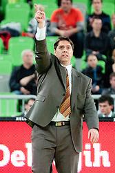 Saso Filipovski, head coach of Union Olimpija, during basketball match between KK Union Olimpija and Asseco Prokom Gdynia (POL) of 3rd Round in Group D of Regular season of Euroleague 2011/2012 on November 2, 2011, in Arena Stozice, Ljubljana, Slovenia. (Photo by Matic Klansek Velej / Sportida)