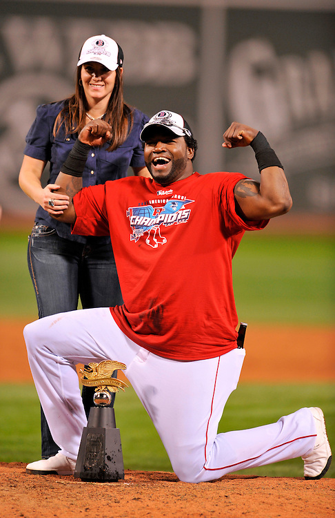 BOSTON - OCTOBER 21: David Ortiz #34 of the Boston Red Sox celebrates after defeating the Cleveland Indians in game seven of the American League Championship Series on October 21, 2007 at Fenway Park in Boston, Massachusetts