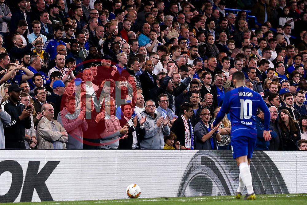 Eden Hazard of Chelsea walks past the Chelsea fans - Mandatory by-line: Robbie Stephenson/JMP - 18/04/2019 - FOOTBALL - Stamford Bridge - London, England - Chelsea v Slavia Prague - UEFA Europa League Quarter Final 2nd Leg