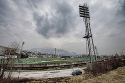 Image shows general view of Sarajevo with the rebuilt Olympic stadium from 1984 as soldiers on Exercise Civil Bridge today took a cultural tour of the city.<br /> 14/03/2015<br /> <br /> Credit should read: Cpl Mark Larner, Media Ops Group<br /> <br /> Exercise Civil Bridge is an exercise in support of UK Defence Engagement by elements of 77 Brigade. Civil Bridge 14B (CB14B) is being conducted Sarajevo, Bosnia &amp; Herzegovina (BiH).<br /> <br /> By assisting the BiH Government to develop their contingency plans for natural disasters at both strategic and operational levels, CB14B will contribute to the long term international effort to stabilise BiH ethnic groups and authorities.
