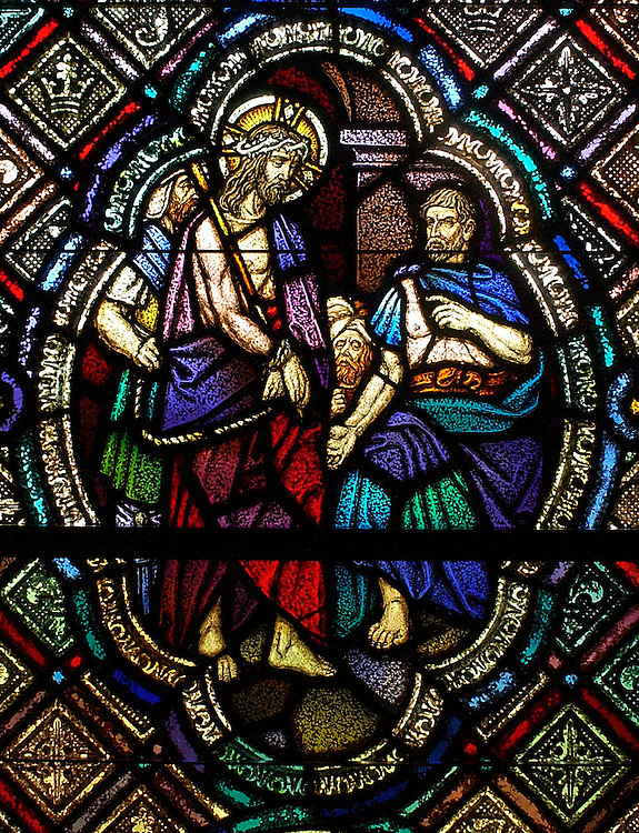 Stained glass of Pilate condemning Jesus to death inside chapel at St. Joan of Arc Church in Nashotah, Wis. (Photo by Sam Lucero)