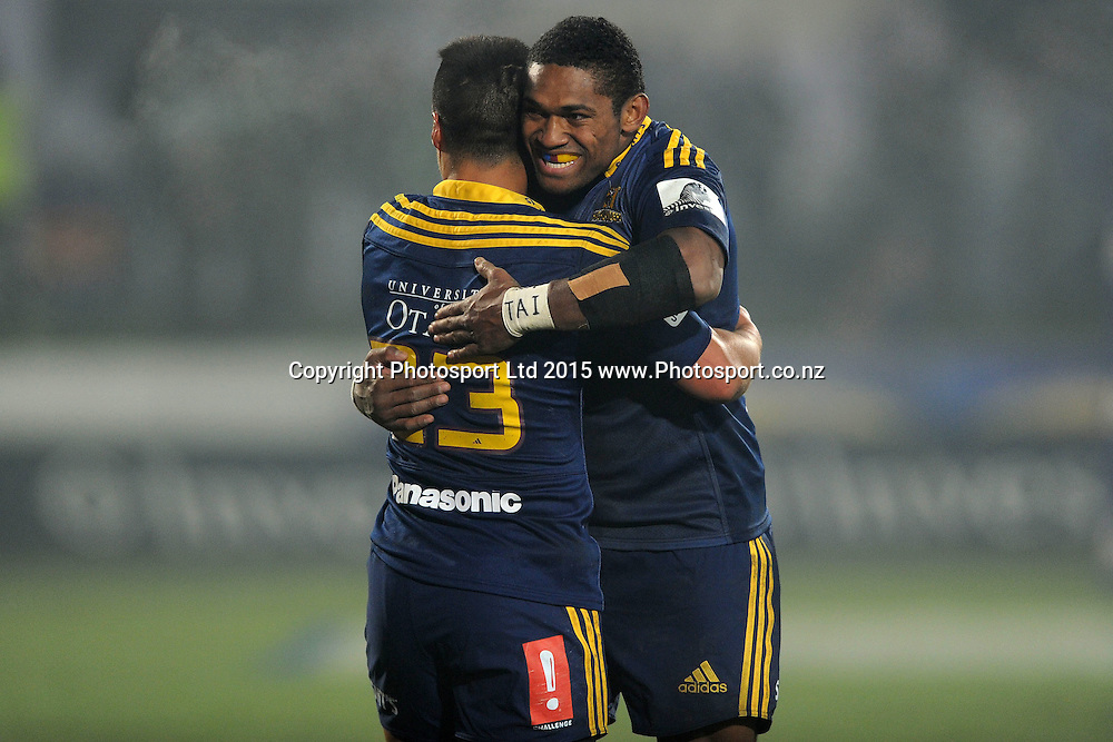 Waisake Naholo and Jason Emery of the Highlanders celebrate after defeating the Chiefs, following the Super Rugby Match between the Highlanders and the Chiefs, held at Rugby Park, Invercargill, New Zealand, 30th May 2015. Credit: Joe Allison / www.Photosport.co.nz