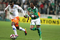 FOOTBALL - FRENCH CHAMPIONSHIP 2011/2012 - L1 - AS SAINT ETIENNE v MONTPELLIER HSC  - 6/11/2011 - PHOTO EDDY LEMAISTRE / DPPI - ALBIN EBONDO (ASSE) AND BEDIMO (MHSC)