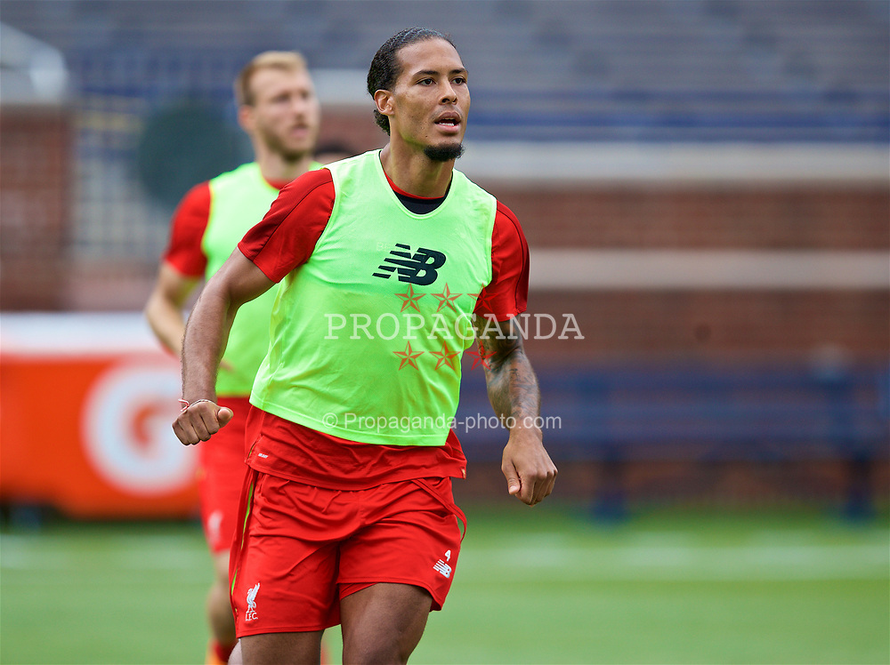 ANN ARBOR, USA - Friday, July 27, 2018: Liverpool's Virgil van Dijk during a training session ahead of the preseason International Champions Cup match between Manchester United FC and Liverpool FC at the Michigan Stadium. (Pic by David Rawcliffe/Propaganda)