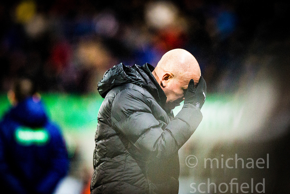 Rangers manager Mark Warburton. <br /> Falkirk 3 v 2 Rangers, Scottish Championship game player at The Falkirk Stadium, 18/3/2016.