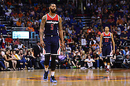 Apr 1, 2016; Phoenix, AZ, USA; Washington Wizards forward Markieff Morris (5) walks off the court during the game against the Phoenix Suns at Talking Stick Resort Arena. The Washington Wizards won 106- 99. Mandatory Credit: Jennifer Stewart-USA TODAY Sports