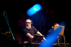 "© Licensed to London News Pictures . 05/02/2016 . Manchester , UK . DJ GRAEME PARK . "" Hacienda Classical "" debut at the Bridgewater Hall . The 70 piece Manchester Camerata and performers including New Order's Peter Hook , Shaun Ryder , Rowetta Idah , Bez and Hacienda DJs Graeme Park and Mike Pickering mixing live compositions . Photo credit : Joel Goodman/LNP"