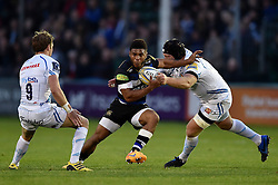 Kyle Eastmond of Bath Rugby takes on the Exeter Chiefs defence - Mandatory byline: Patrick Khachfe/JMP - 07966 386802 - 10/10/2015 - RUGBY UNION - The Recreation Ground - Bath, England - Bath Rugby v Exeter Chiefs - West Country Challenge Cup.
