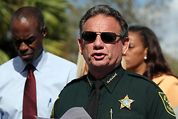 Broward County Sheriff Scott Israel speaks during a news conference on Thursday, February 15, 2018, near Marjory Stoneman Douglas High School in Parkland where where 17 people were killed Wednesday. Photo by Amy Beth Bennett/Sun Sentinel/TNS/ABACAPRESS.COM