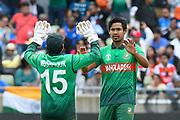 Wicket - Mustafizur Rahman of Bangladesh celebrates taking the wicket of Mohammed Shami of India during the ICC Cricket World Cup 2019 match between Bangladesh and India at Edgbaston, Birmingham, United Kingdom on 2 July 2019.