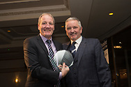 09/02/2017 - Dundee director Steve Martin presents Eric Sinclair with his Legends Award at Dundee FC Hall of fame dinner at the Invercarse Hotel, Dundee  Picture by David Young -