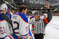 PENTICTON, CANADA - SEPTEMBER 17: Greg Chase #72 of Edmonton Oilers speaks to the referee from the bench against the Calgary Flames on September 17, 2016 at the South Okanagan Event Centre in Penticton, British Columbia, Canada.  (Photo by Marissa Baecker/Shoot the Breeze)  *** Local Caption *** Greg Chase;