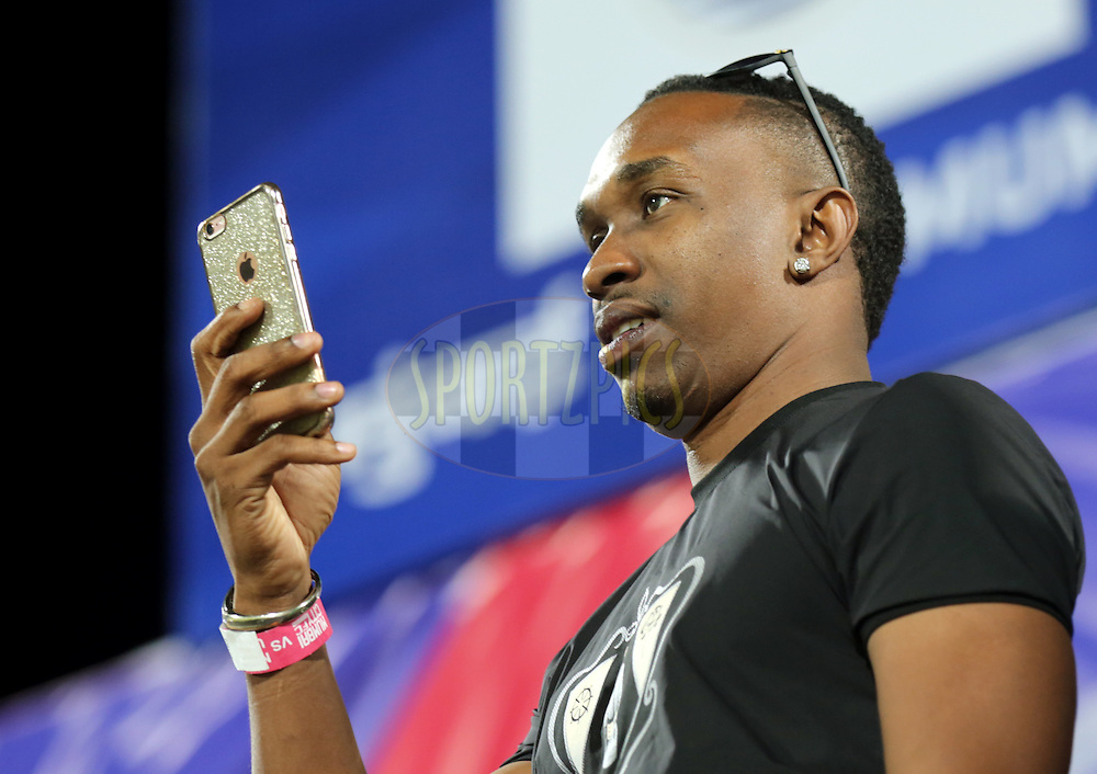 Dwyen Bravo west indies cricket player during match 7 of the Indian Super League (ISL) season 3 between Mumbai City FC and NorthEast United FC held at the Mumbai Football Arena in Mumbai, India on the 7th October 2016.<br /> <br /> Photo by Sandeep Shetty / ISL/ SPORTZPICS