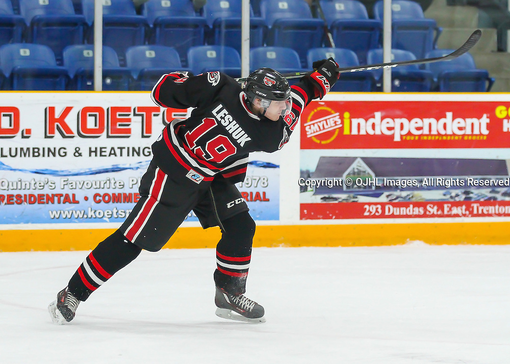 TRENTON, ON - JAN 24,  2017: Ontario Junior Hockey League game between Milton and Mississauga at the 2017 Winter Showcase, Nick Leshuck #19 of the Milton Icehawks shoots the puck during the first period.<br /> (Photo by Ray MacAloney / OJHL Images)