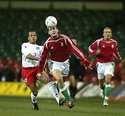 CARDIFF, WALES - WEDNESDAY FEBRUARY 9th 2005: Wales' Robert Earnshaw and Hungary's Gabor Gyepes during the International Friendly match at the Millennium Stadium. (Pic by Jason Cairnduff/Propaganda)