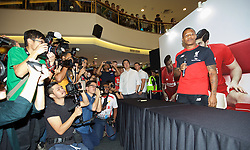 KUALA LUMPUR, MALAYSIA - Wednesday, July 22, 2015: Liverpool's Nathaniel Clyne during an event at the Mid Valley Mega Mall on day ten of the club's preseason tour. (Pic by David Rawcliffe/Propaganda)