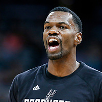 03 May 2017:  San Antonio Spurs center Dewayne Dedmon (3) is seen prior to the San Antonio Spurs 121-96 victory over the Houston Rockets, in game 2 of the Western Conference Semi Finals, at the AT&T Center, San Antonio, Texas, USA.