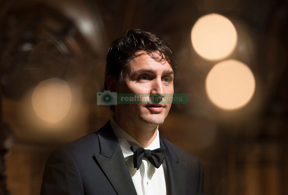 Canadian Prime Minister Justin Trudeau speaks at the St.Matthew's Day banquet in Hamburg, Germany Friday February 17, 2017. Photo by Adrian Wyld/CP/ABACAPRESS.COM  | 582755_001 Hamburg Allemagne Germany