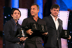 Nastri d'argento in Taormina. Film awards awarded in Taormina by the journalists' union. 30 Jun 2018 Pictured: Marcello Fonte, Matteo Garrone, Edoardo Pesce. Photo credit: Fabio Caia / MEGA TheMegaAgency.com +1 888 505 6342