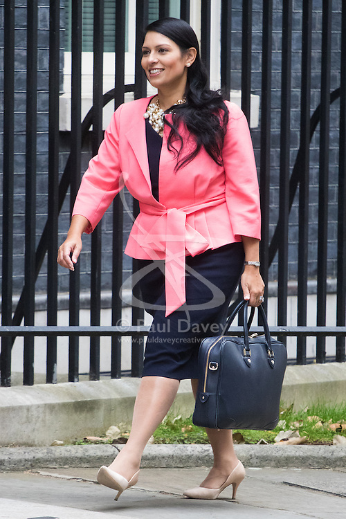 Downing Street, London, October 25th 2016. International Development Secretary Priti Patel arrives at 10 Downing Street for the weekly cabinet following a Heathrow Third Runway Sub-Committee meeting at the same venue.