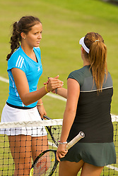 LIVERPOOL, ENGLAND - Friday, June 19, 2009: Laura Robson (GBR) shakes hands with Tamaryn Hendler (BEL) after her 7-6 (3), 7-6 (2) victory during Day Three of the Tradition ICAP Liverpool International Tennis Tournament 2009 at Calderstones Park. (Pic by David Rawcliffe/Propaganda)