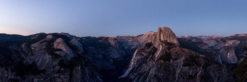 Half Dome at twilight in Yosemite National Park. Large format, hi-res panorama