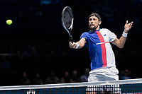 Tennis - 2017 Nitto ATP Finals at The O2 - Day Six<br /> <br /> Mens Doubles: Group Woodbridge/Woodforde: Lukasz Kubot (Poland) & Marcelo Melo (Brazil) Vs Jamie Murray (Great Britain) & Bruno Soares (Brazil) <br /> <br /> Lukasz Kubot (Poland) in action close to the net at the O2 Arena<br /> <br /> COLORSPORT/DANIEL BEARHAM