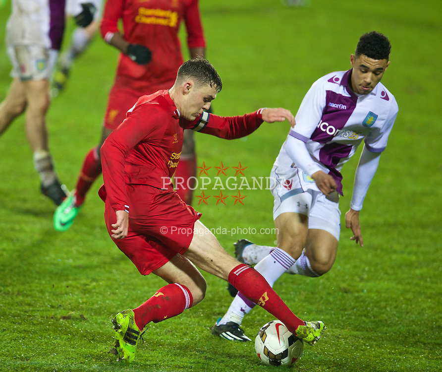 ST. HELENS, ENGLAND - Wednesday, January 15, 2014: Liverpool's captain Conor Randall in action against Aston Villa during the FA Youth Cup 4th Round match at Langtree Park. (Pic by David Rawcliffe/Propaganda)
