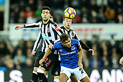 Dominic Calvert-Lewin (#29) of Everton wins the aerial duel against Mikel Merino (#23) of Newcastle United during the Premier League match between Newcastle United and Everton at St. James's Park, Newcastle, England on 13 December 2017. Photo by Craig Doyle.