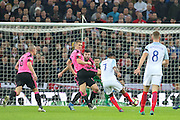 England Forward Raheem Sterling shoots at goal during the FIFA World Cup Qualifier group stage match between England and Scotland at Wembley Stadium, London, England on 11 November 2016. Photo by Phil Duncan.