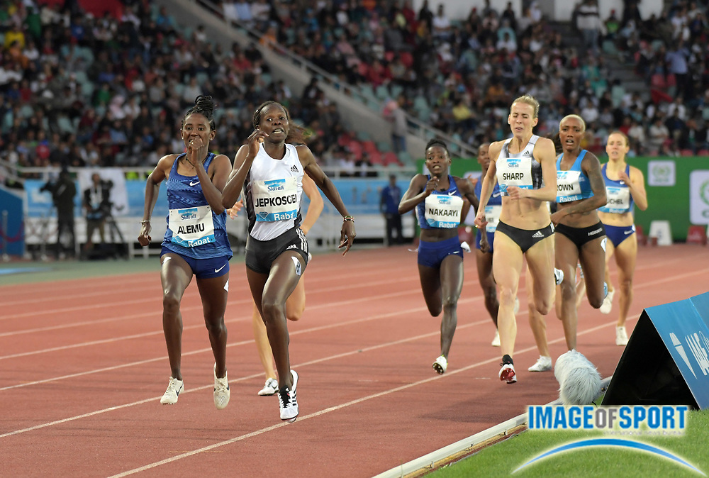 Jun 16, 2019; Rabat, Morocco; Nelly Jepkoskei (KEN) defeats Nabitam Alemu (ETH) to win the 800m in 1:59.59 to 1:59.90  during the Meeting International Mohammed VI d'Athletisme de Rabat at Prince Moulay Abdellah Stadium.