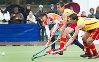AERDENHOUT - 09-04-2012 - , maandag tijdens de finale tussen Nederland Jongens B en Spanje Jongens B  (3-1) , tijdens het Volvo 4-Nations Tournament op de velden van Rood-Wit in Aerdenhout. Jongens U16 wordt kampioen.FOTO KOEN SUYK
