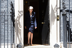 London, July 5th 2017. British Prime Minister Theresa May welcomes Ukrainian Prime Minister Volodymyr Groysman to 10 Downing Street in London for bilateral talks.