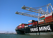 Yang Ming's YM Success, of Monrovia, Liberia, is loaded with containers in the Oakland Estuary between Oakland and Alameda, Calif., on Saturday, Aug. 6, 2011.  (© 2011 Cindi Christie/Cyanpixel Photography)