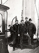Salomon-Auguste Andree (centre) (1854-1897), Swedish engineer, with the men who accompanied on the fatal voyage to explore the North Pole (1897).  On 11 July 1897 they set out by balloon.  A carrier pigeon message received a few days later was the last trace of the expedition until their remains were found 33 years later east of Spitsbergen.  From 'La Navigation Aerienne' by  J Lecornu (Paris, 1910).