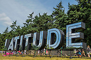 The shiny Latitude sign - The 2016 Latitude Festival, Henham Park, Suffolk.