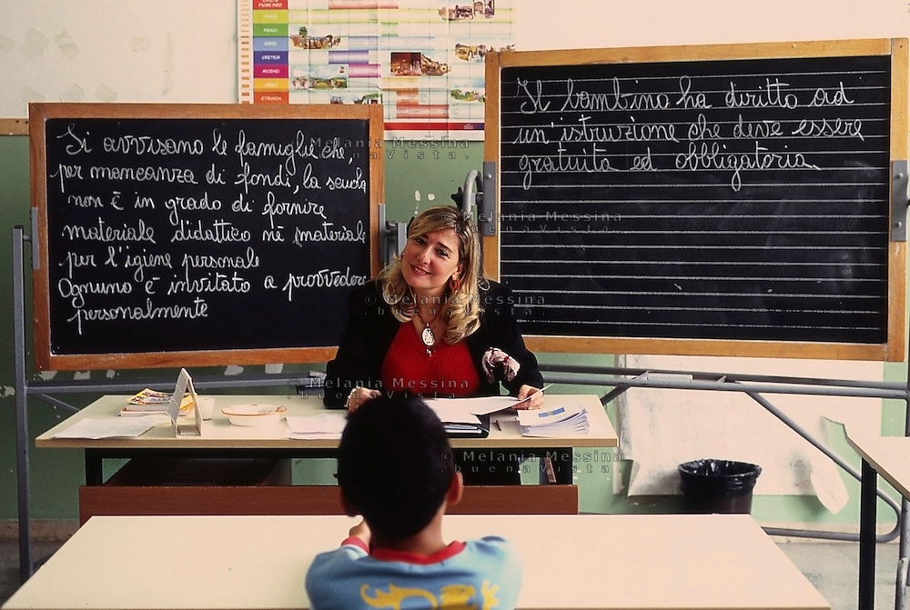 A teacher in a primary pubblic school in Palermo does her work as good as she can in a  very disadvantaged neighborood, where families don't send kids to study and everything  became more difficult due to the recent govenment cuts to public school.<br /> Una maestra del quartiere San Pietro di Palermo ad alto rischio di dispersione scolastica